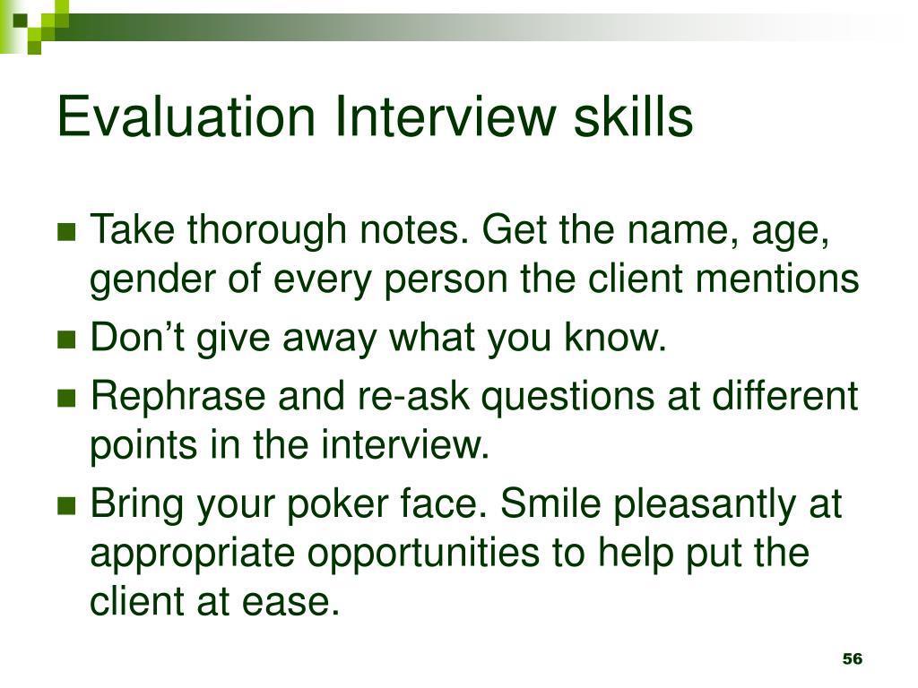Evaluation Interview skills