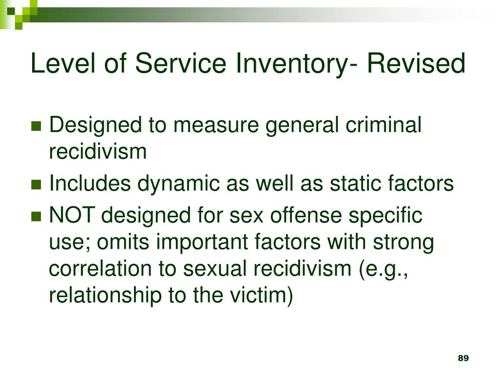 Level of Service Inventory- Revised