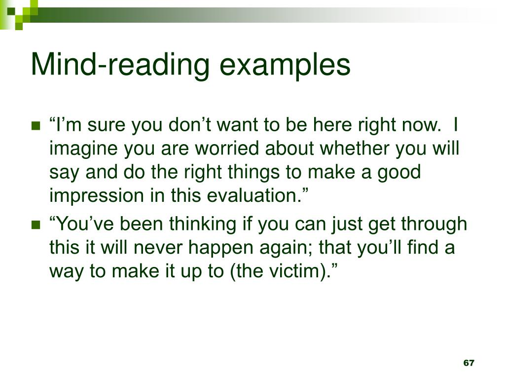 Mind-reading examples