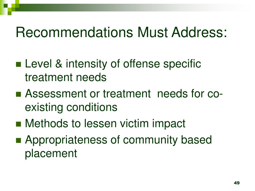 Recommendations Must Address: