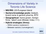 dimensions of variety in toronto life science