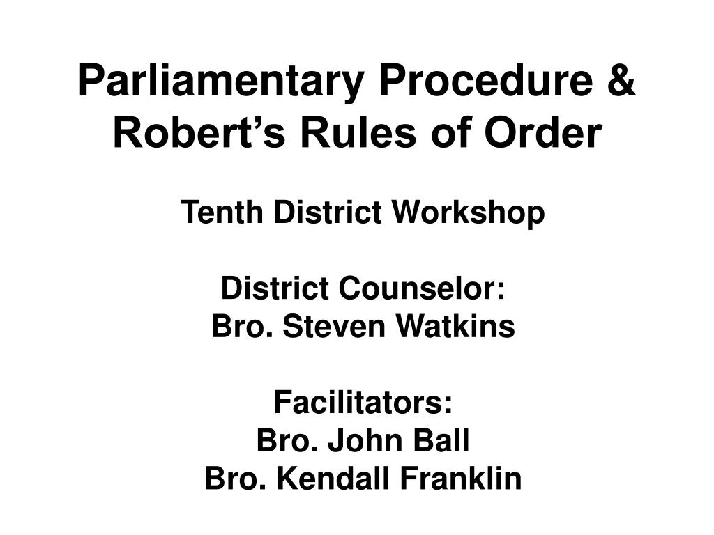 parliamentary procedure robert s rules of order l.