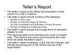 teller s report