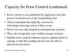 capacity for error control continued