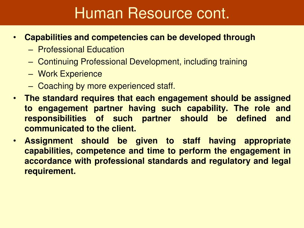 Human Resource cont.