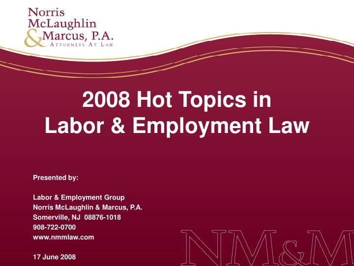 2008 hot topics in labor employment law n.