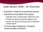 code section 409a an overview