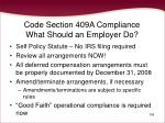 code section 409a compliance what should an employer do