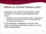 effects on current policies cont