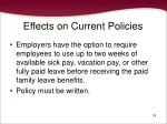 effects on current policies