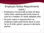 employee notice requirements cont