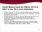 family medical leave act fmla 29 u s c 2611 et seq 50 or more employees