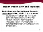 health information and inquiries