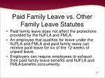 paid family leave vs other family leave statutes