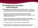 pre employment screening credit histories