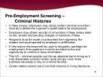 pre employment screening criminal histories