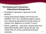 pre employment screening educational background