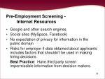 pre employment screening internet resources
