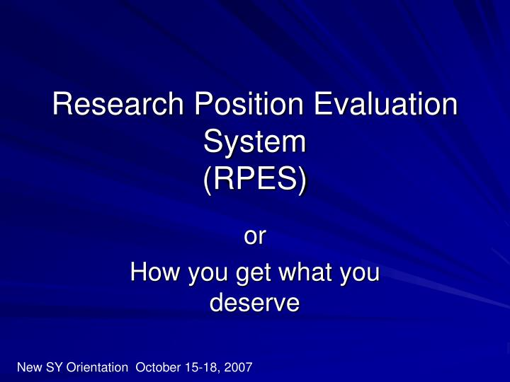 research position evaluation system rpes n.