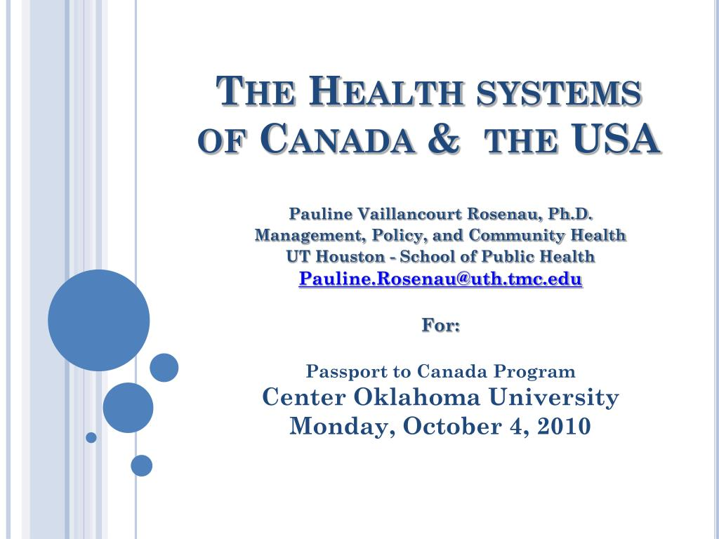 the health systems of canada the usa