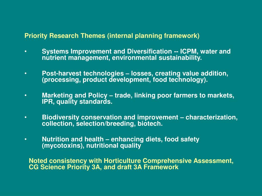 Priority Research Themes (internal planning framework)
