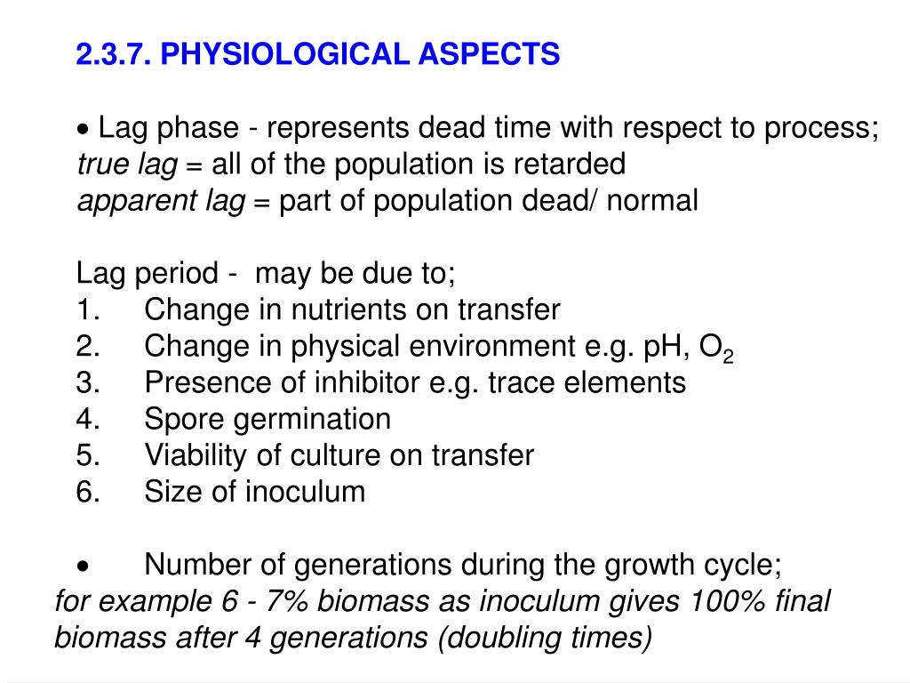 2.3.7. PHYSIOLOGICAL ASPECTS