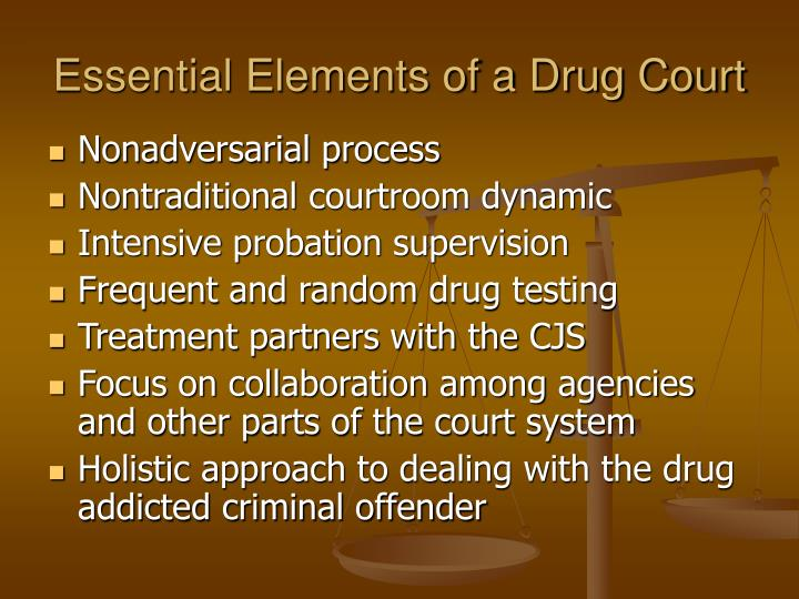 Essential elements of a drug court