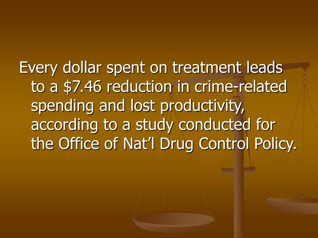 Every dollar spent on treatment leads to a $7.46 reduction in crime-related spending and lost productivity, according to a study conducted for the Office of Nat'l Drug Control Policy.