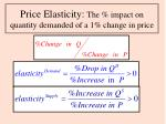 price elasticity the impact on quantity demanded of a 1 change in price