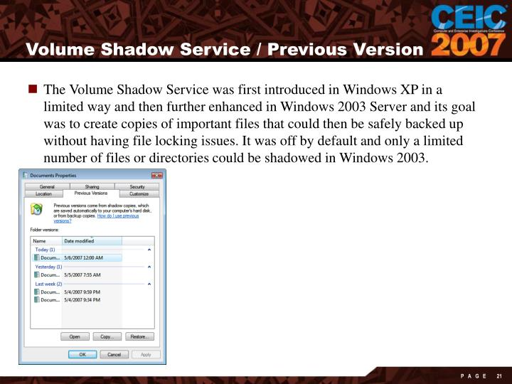 Volume Shadow Service / Previous Version