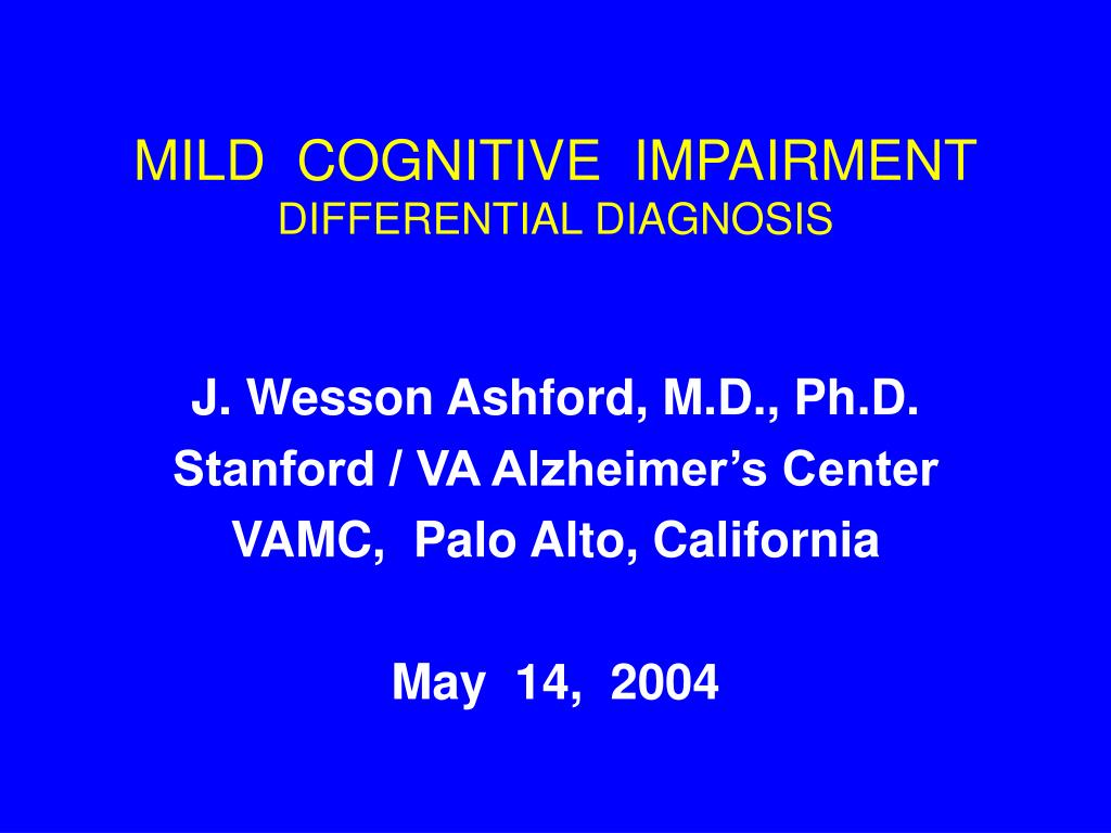 mild cognitive impairment differential diagnosis l.