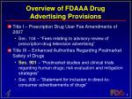 overview of fdaaa drug advertising provisions