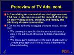 prereview of tv ads cont
