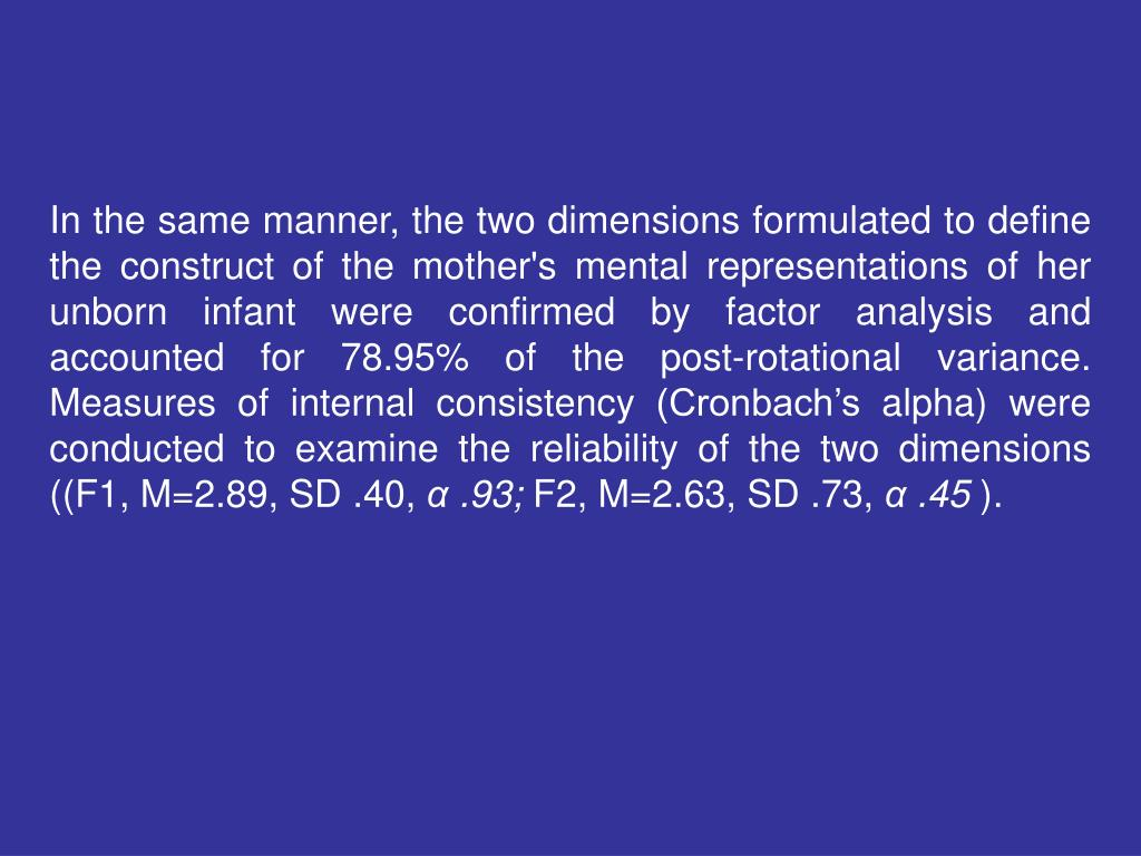 In the same manner, the two dimensions formulated to define the construct of the mother's mental representations of her unborn infant were confirmed by factor analysis and accounted for 78.95% of the post-rotational variance. Measures of internal consistency (Cronbach's alpha) were conducted to examine the reliability of the two dimensions ((F1, M=2.89, SD .40,