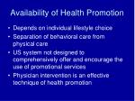 availability of health promotion