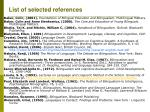 list of selected references