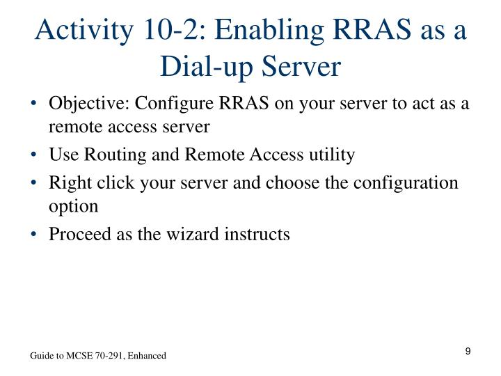 Activity 10-2: Enabling RRAS as a Dial-up Server