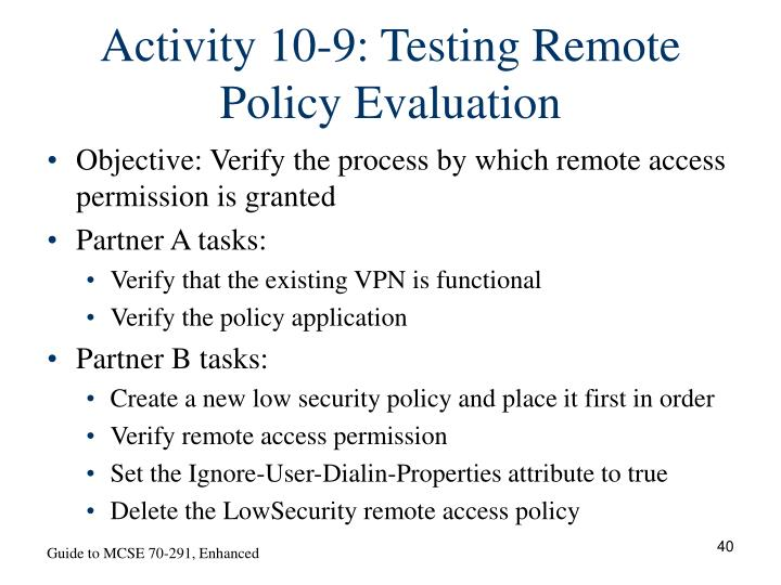 Activity 10-9: Testing Remote Policy Evaluation