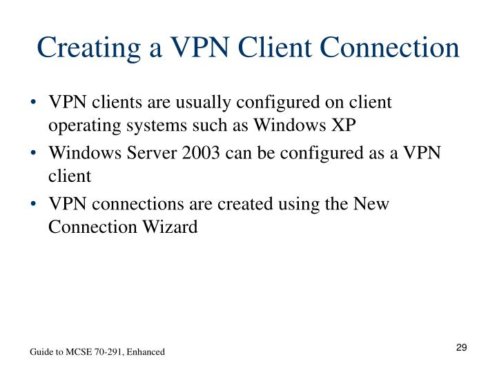 Creating a VPN Client Connection