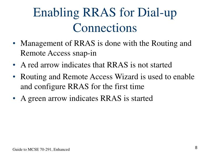 Enabling RRAS for Dial-up Connections