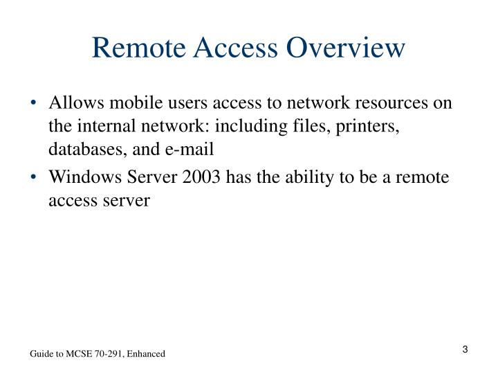 Remote access overview