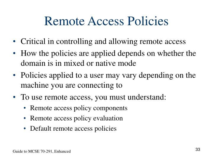 Remote Access Policies