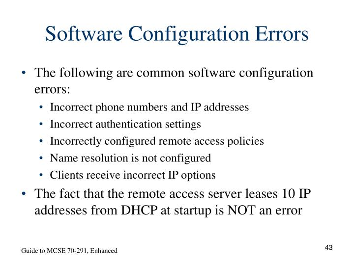 Software Configuration Errors