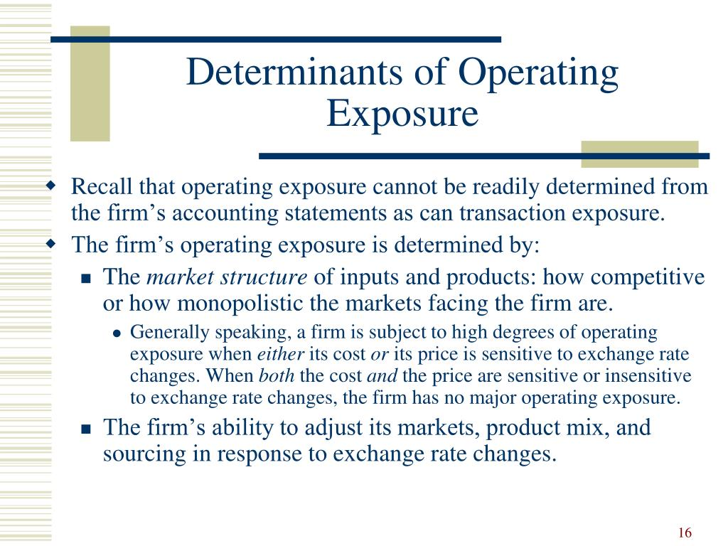 Determinants of Operating Exposure