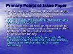 primary points of issue paper