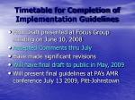 timetable for completion of implementation guidelines