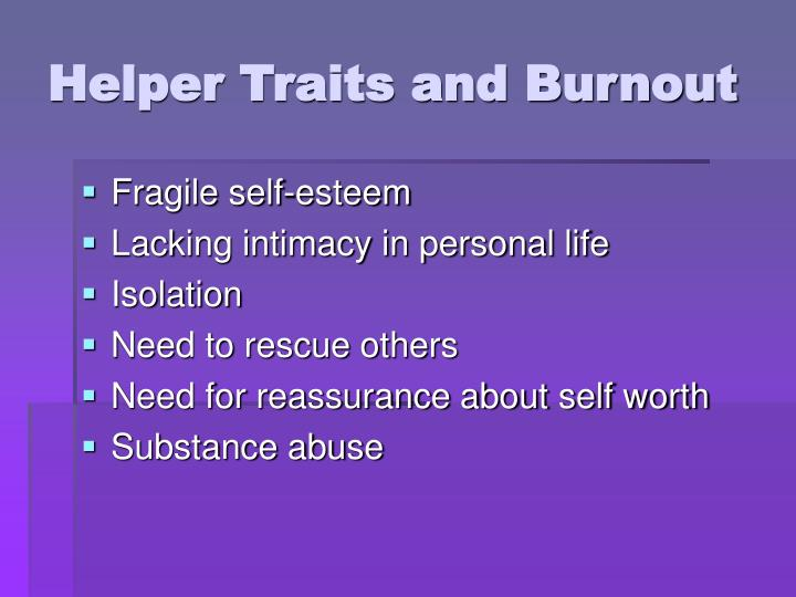 Helper Traits and Burnout