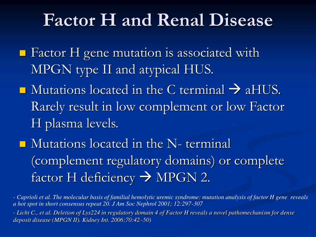 Factor H and Renal Disease