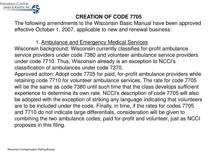CREATION OF CODE 7705