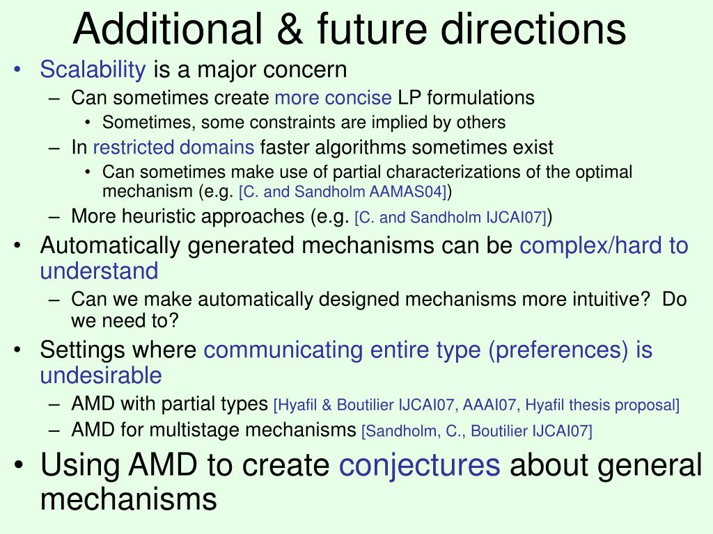 Additional & future directions